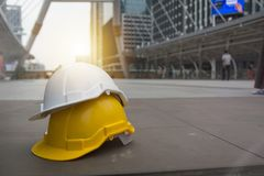 Hard safety helmet hat for safety project of workman as engineer stock photos