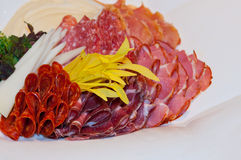 Hard salami appetizer. Plate in southern Serbia style Stock Photography
