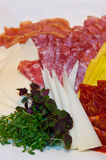 Hard salami plate. Hard salami appetizer plate with cheese and smoked bacon Stock Photography