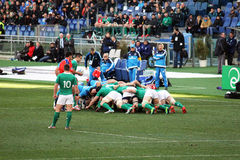Hard scrum. A scrum during the rugby match italy vs ireland played at rome.7/2/2015 Royalty Free Stock Photo