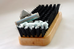 Hard shave. Time for hard shave. Brush like symbol of wiry (coarse) bristle royalty free stock photography