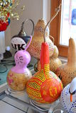 Hard-shell gourds carved and painted. royalty free stock image