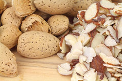 Hard Shell and Sliced Almonds Close View Royalty Free Stock Photography