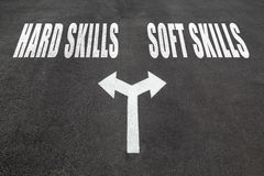 Hard skills vs soft skills choice concept Stock Photo