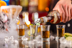 Hard spirit on bar counter Royalty Free Stock Images