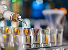 Hard spirit on bar counter Royalty Free Stock Photography