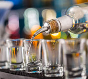 Hard spirit on bar counter Stock Images