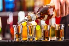 Hard spirit on bar counter Royalty Free Stock Image