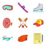 Hard sport day icons set, cartoon style. Hard sport day icons set. Cartoon set of 9 hard sport day vector icons for web isolated on white background Stock Images