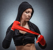 Hard sport woman ready for fight. Stock Image