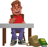 Hard student. A young hard student doing his home work Stock Image