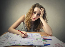 Hard study. A girl is studying hard for an exam Royalty Free Stock Images