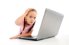 Hard studying. Little girl having trouble studying Royalty Free Stock Photography
