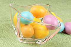 Hard sugar coated chocolate eggs Stock Photography
