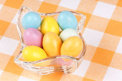 Hard sugar coated chocolate eggs Stock Images