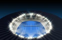 Hard Tennis Court At Night Stock Photos
