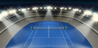 Hard Tennis Court At Night Stock Photography