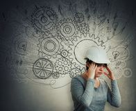Hard thinking engineer stock photo