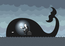 Hard times. Man dressed on a business man style inside a whale like Jonah, lighting himself with a lighter. Hoping and waiting for better times royalty free illustration