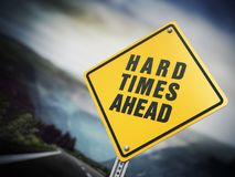 Hard times ahead signboard under dramatic sky. 3D illustration royalty free illustration