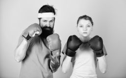It is hard to fail. training with coach. knockout and energy. couple training in boxing gloves. punching, sport Success stock images