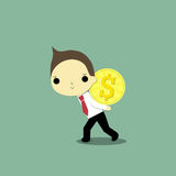 Hard to get money. Businessman carry big coin of money with his power Royalty Free Stock Image