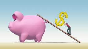 Hard To Save A Dollar. Illustration of man working hard to push a gold dollar sign up a ramp into a huge pink piggy bank Royalty Free Stock Photography