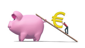Hard To Save A Euro. Illustration of man working hard to push a gold Euro symbol up a ramp into a huge pink piggy bank Stock Photos