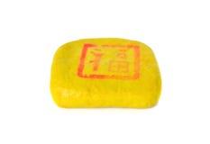 Hard tofu cheese on white Royalty Free Stock Photo