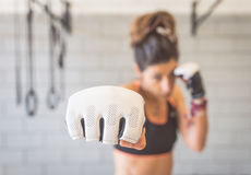 Hard training. Woman training the jab. concept about martial arts Royalty Free Stock Image