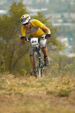 Hard uphill. On cross-country race Royalty Free Stock Photography