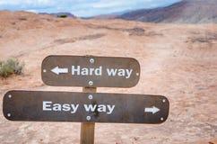 Hard Way or Easy Way Stock Photos