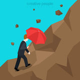 Hard way mountain business success flat 3d vector isometric Royalty Free Stock Photo
