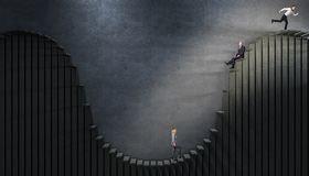 Hard way to success. Business people on curved abstract stair 3d royalty free stock photos