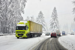 Hard winter traffic Stock Photos