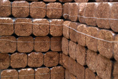 Hard wood briks for cold winter. Stock Photo