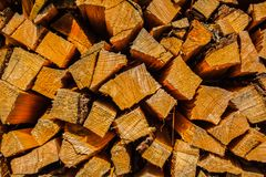 Stack of firewood. Hard wood chopped and made for light up a fire Stock Images