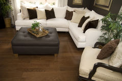 Hard wood flooring in living room area Royalty Free Stock Photos