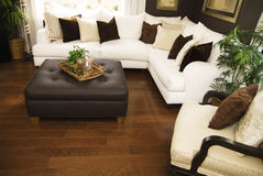 Hard wood flooring in living room area Stock Photo