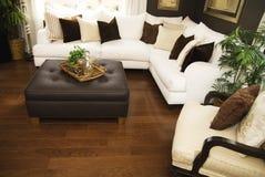 Hard wood flooring in living room area stock photo