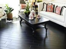 Hard wood flooring in living room area stock image