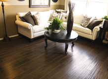 Hard wood flooring in living room area stock photos