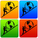 Hard work. Colorful icons with 'hard work' or 'saving the earth's future' concept Stock Image