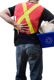 Hard Work. A city worker suffering from a sore back, from picking up blue boxes of recycling