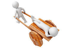 Hard work. One person trundle other on wooden cart. Isolated Royalty Free Stock Photos