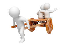 Hard work. One person trundle other on wooden cart. Isolated Royalty Free Stock Images