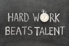 Hard work beats. Talent phrase handwritten on chalkboard with vintage precise stopwatch used instead of O Stock Photography