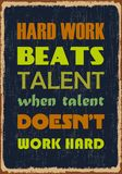 Hard work beats talent when talent does not work hard. Motivation quote. Vector typography poster. Design concept vector illustration