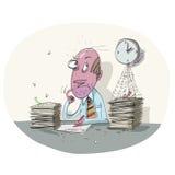 Hard Work. Businessman hard work on office vector illustration Royalty Free Stock Photo