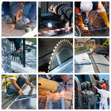 Hard work collage. A collage of photos about hard work theme royalty free stock image